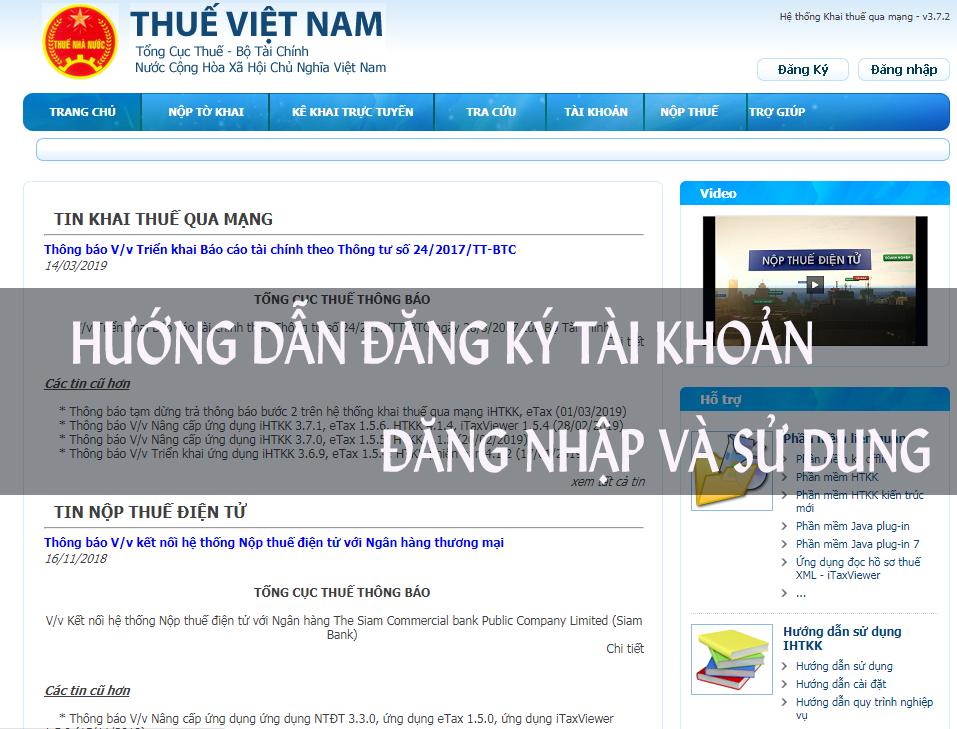 Hướng dẫn đăng nhập và đăng ký tài khoản trên Nhantokhai.gdt.gov.vn – Sử dụng trang tổng cục thuế