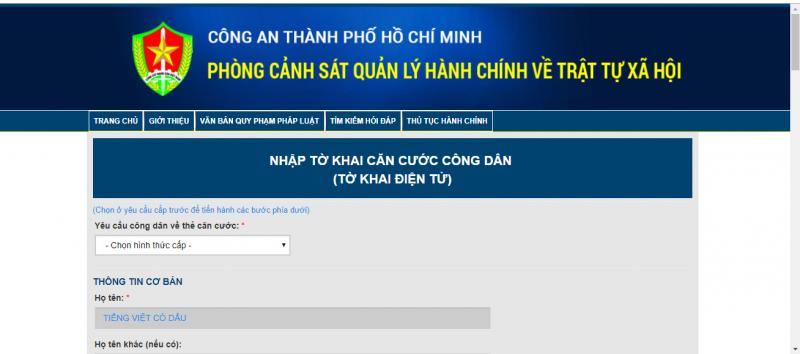 Hướng dẫn cách đăng nhập làm căn cước công dân online trên qlhc.catphcm.bocongan.gov.vn