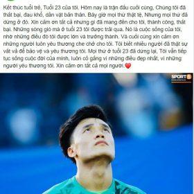 """Bùi Tiến Dũng viết """"tâm thư"""" sau khi U23 Việt Nam nói lời """"tạm biệt"""" VCK U23 châu Á"""