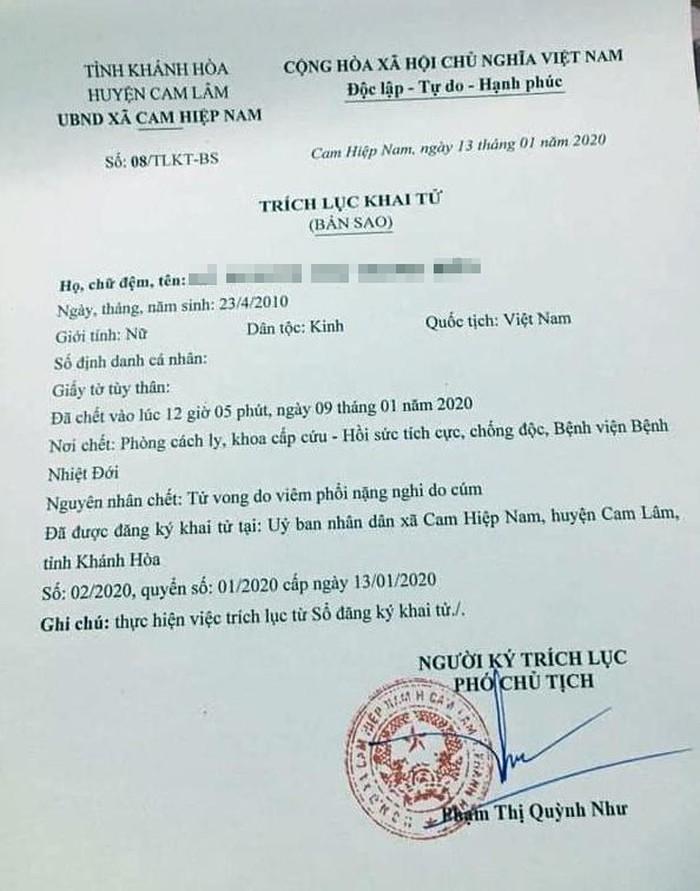 Nóng: Bé gái 10 tuổi tử vong ở Khánh Hòa do virus corona cũ, không phải chủng mới hiện nay