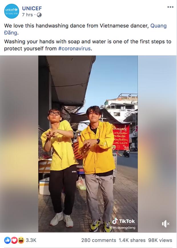 """UNICEF chia sẻ clip """"vũ điệu rửa tay"""" phòng Covid-19 của Quang Đăng và ngợi khen, """"Ghen Cô Vy"""" vươn tầm thế giới!"""