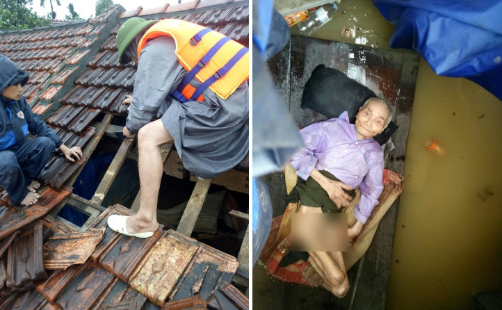 Quảng Bình: Gỡ nóc nhà cứu cụ ông liệt tứ chi, nằm trên phản xung quanh bốn bề là biển nước