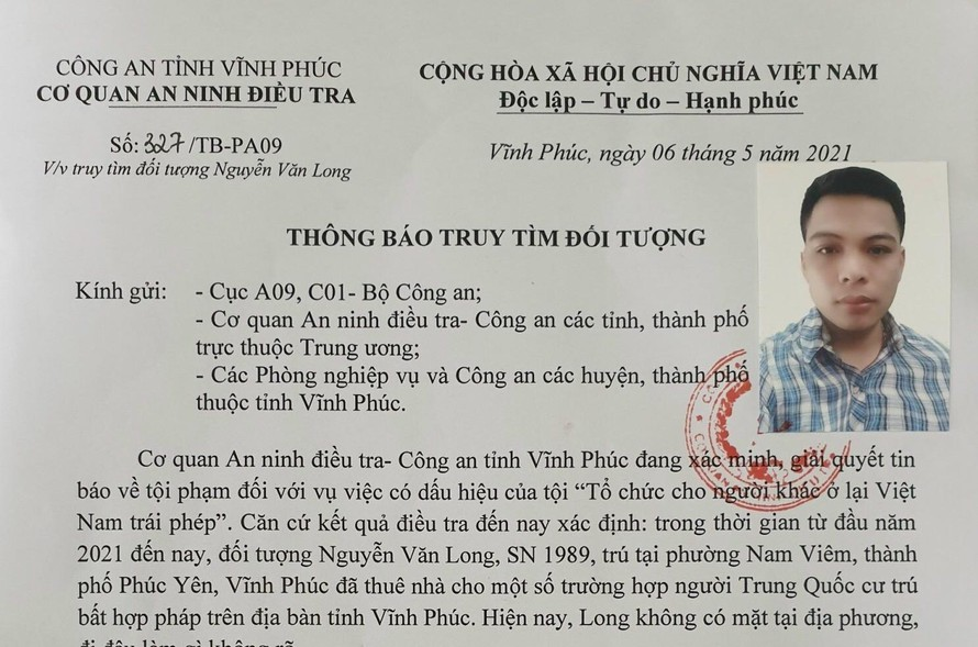 Vĩnh Phúc: Công an truy tìm đối tượng thuê nhà cho người Trung Quốc cư trú trái phép